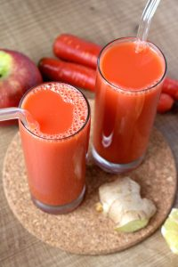 Carrot, Apple and Ginger Juice made in a blender