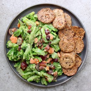 Easy Microwaveable broccoli salad with crackers