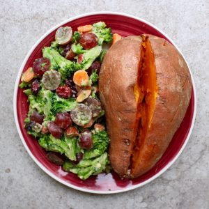 Microwaved sweet potato with easy microwaveable broccoli salad