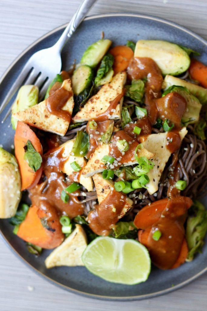 Almond Butter Soba Noodles with Tofu