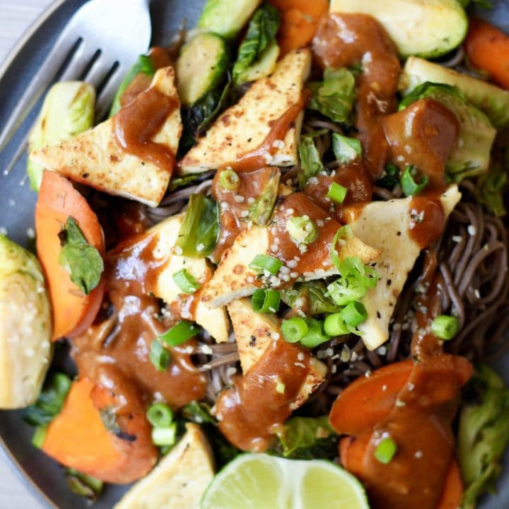 Vegan Almond Butter Soba Noodles with Tofu Recipe