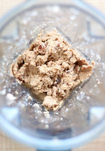 Almond pulp and dates blended into a paste