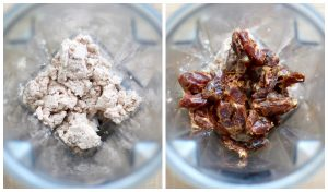 Almond pulp and dates in a vitamix blender