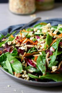Crunchy Ramen Noodle Salad Topping on greens