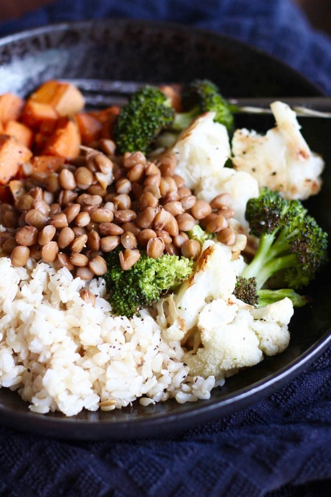 brown lentils over brown rice and veggies
