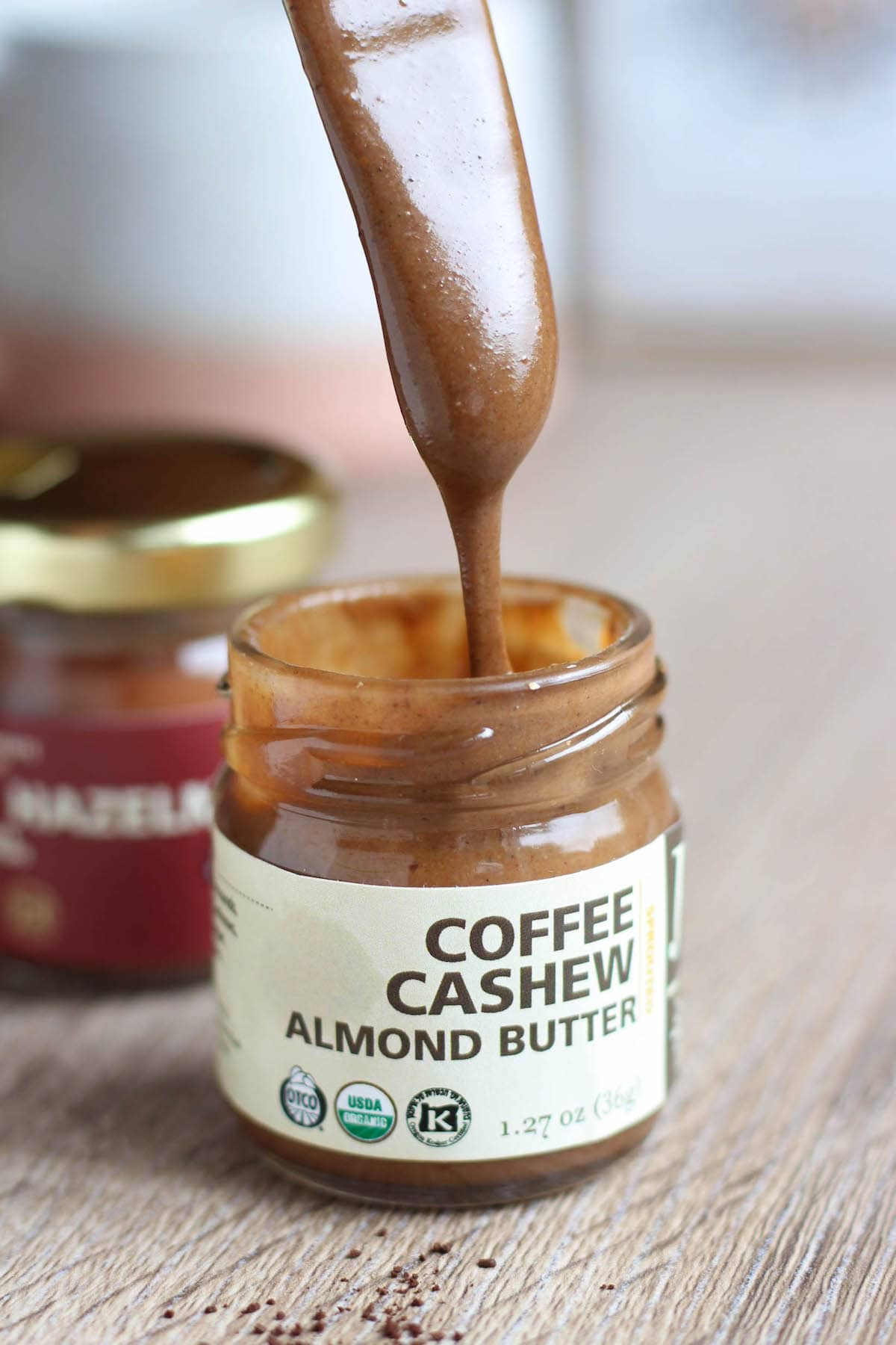 Drippy jem organics coffee cashew almond butter that I put in my vegan bulletproof coffee