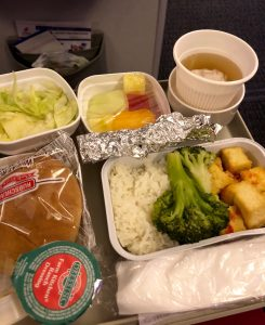 vegan food served on the plane on our flight to China