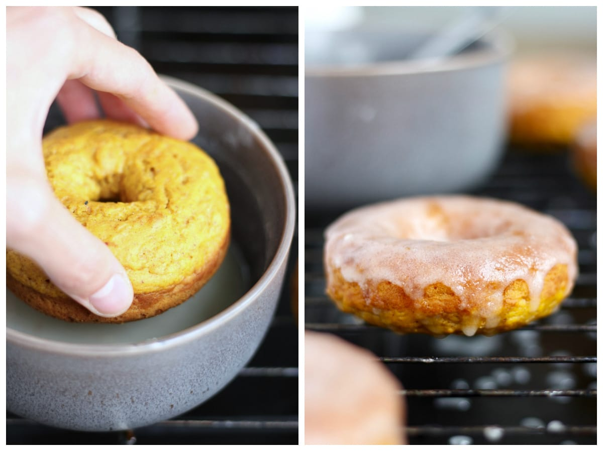 dipping a pumpkin baked donut into sugar glaze