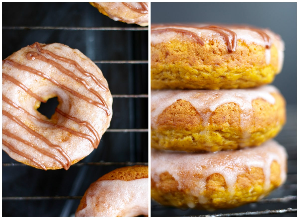 chocolate drizzledd pumpkin baked donuts