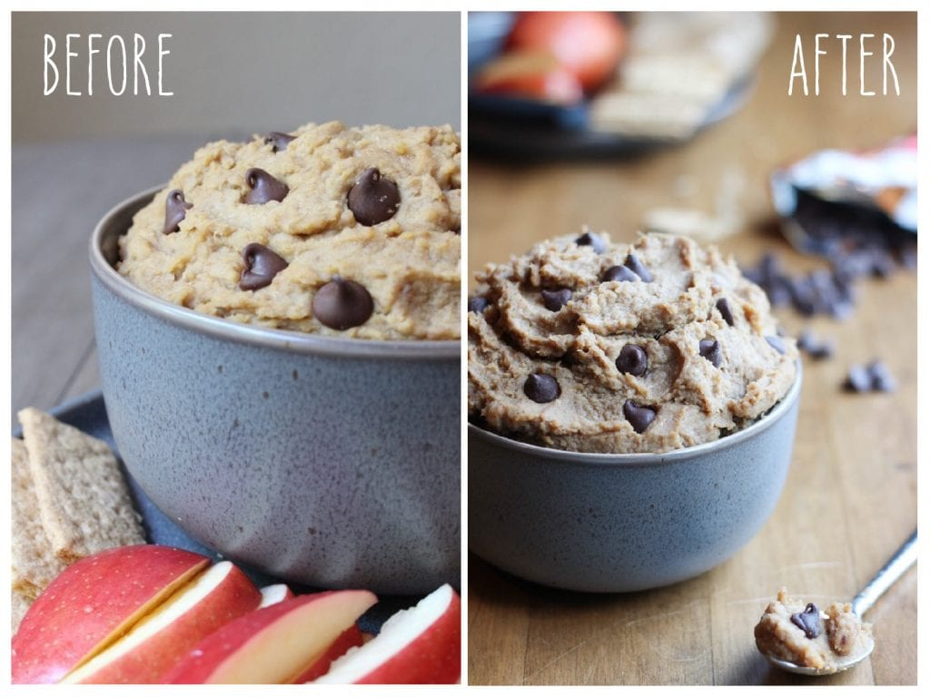 Before and After: 5 Ingredient Date Sweetened Chickpea Cookie Dough