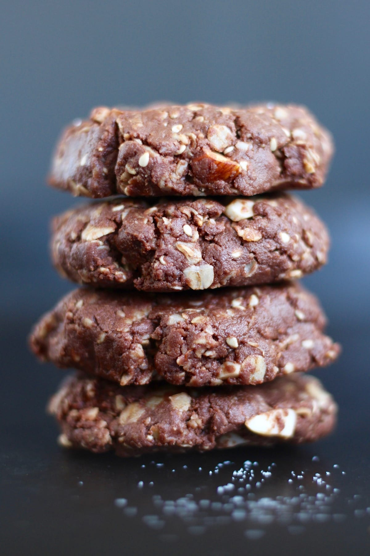 Chocolate Tahini No Bake Cookies stacked on each other