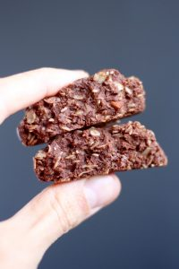 Chocolate tahini no bake cookies broken in half