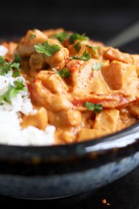 Creamy sweet potato curry sprinkled with cilantro