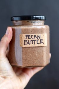 Homemade Pecan Butter in a jar
