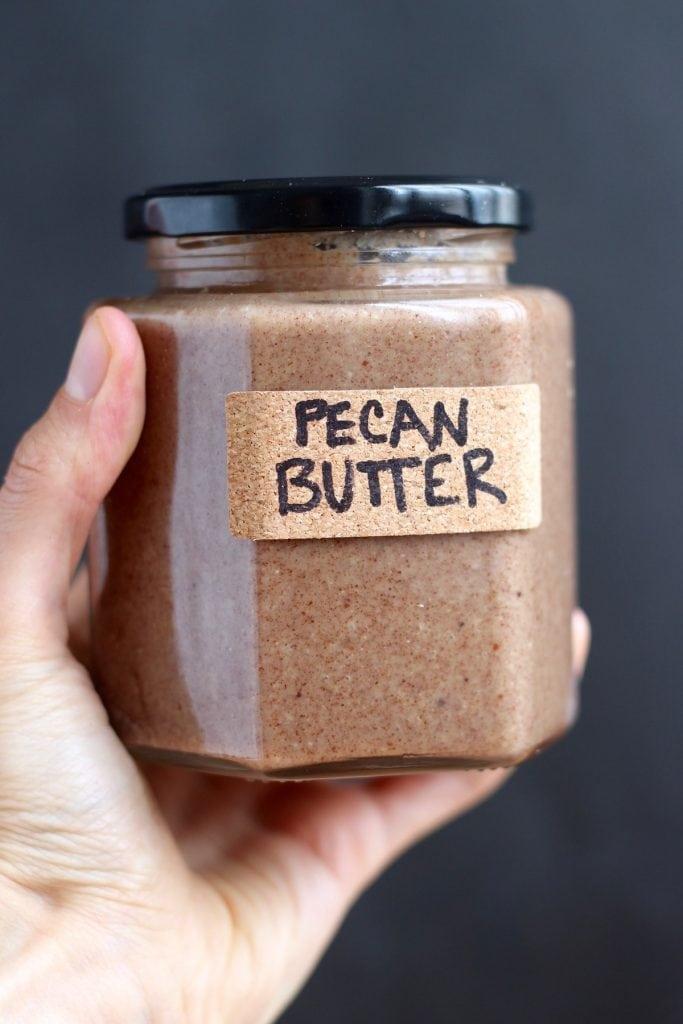 Homemade Pecan Butter in a jar
