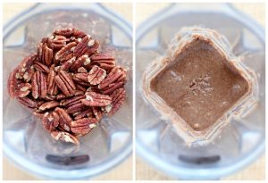 Raw almonds blending into nut butter in a vitamix
