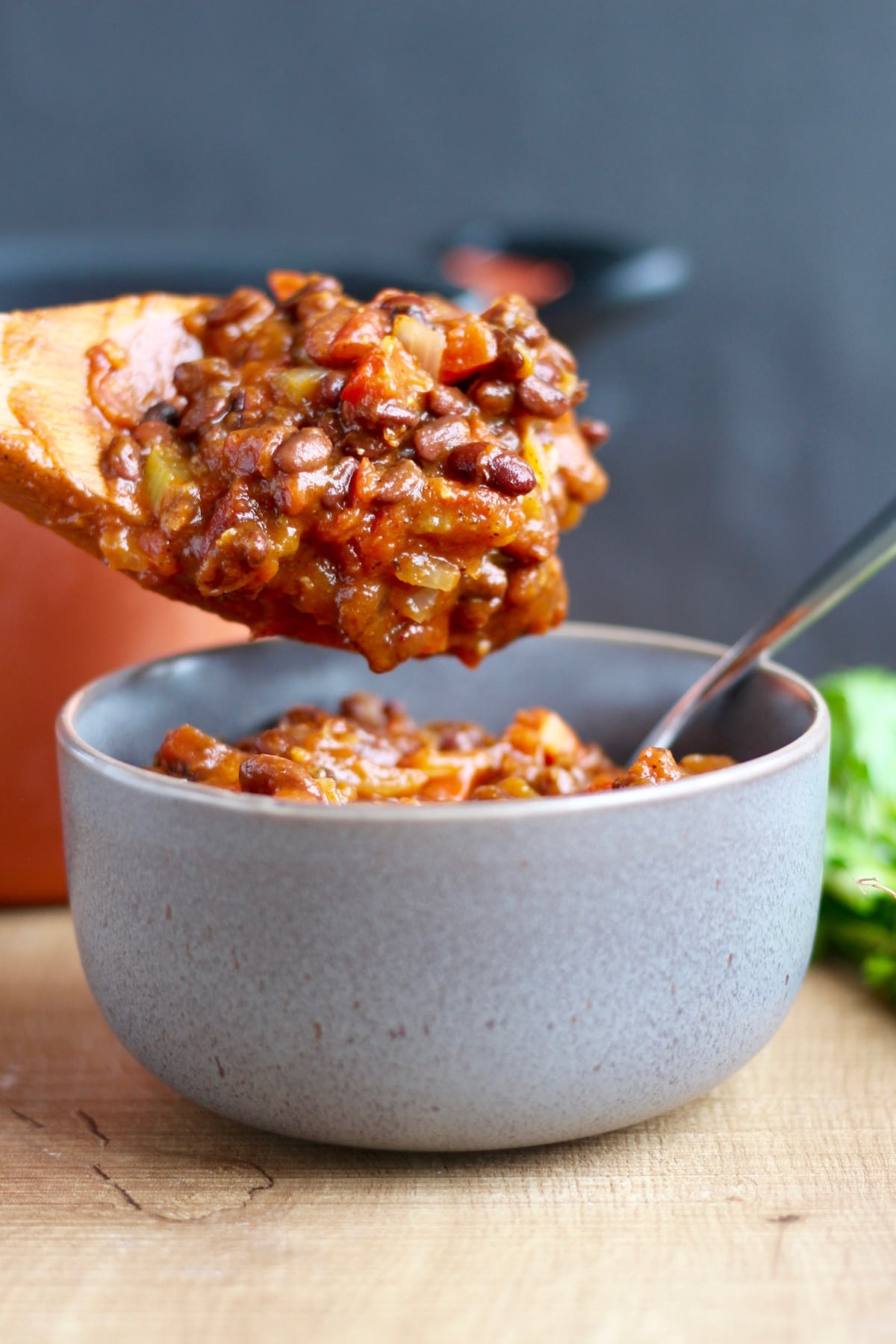 Vegetarian Pumpkin Chili Recipe being served into a bowl