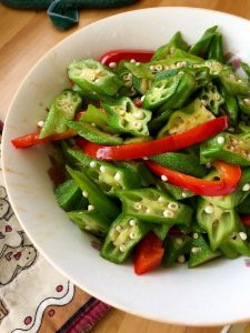 okra and bell pepper