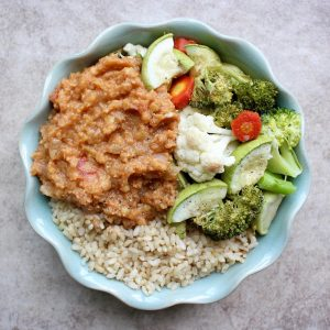 red lentil chili, roasted veggies and brown rice
