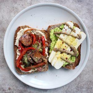 savory toast with dried tofu, veggies and avocado