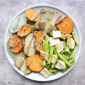 sweet and white potatoes, asparagus, dried tofu, tahini