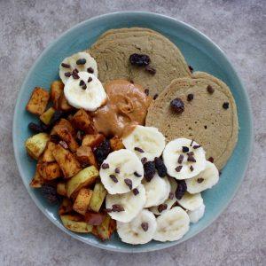 buckwheat pancakes, sauteed apple, banana and peanut butter