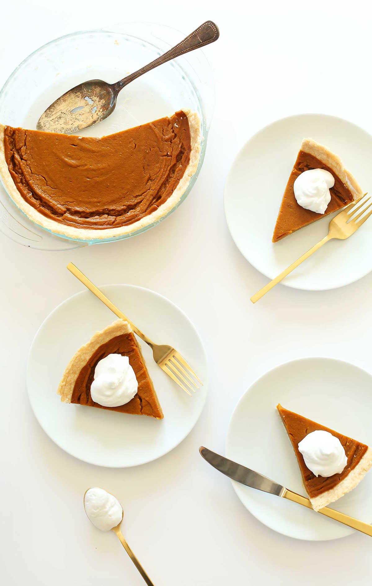 Vegan Pumpkin Pie served onto white plates