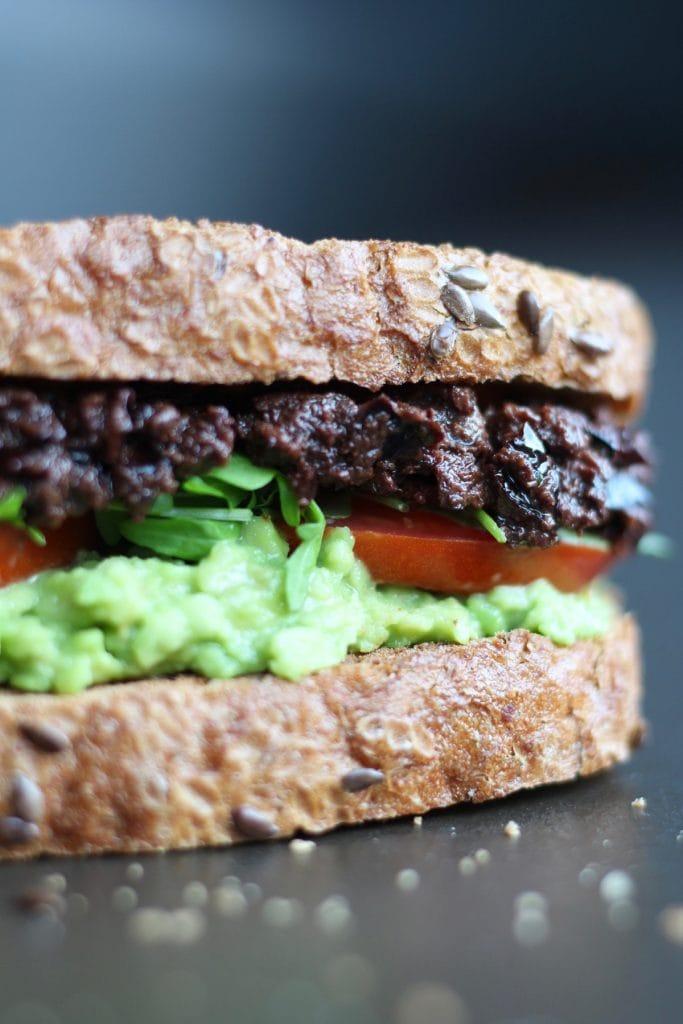 Vegan tapenade and avocado sandwich