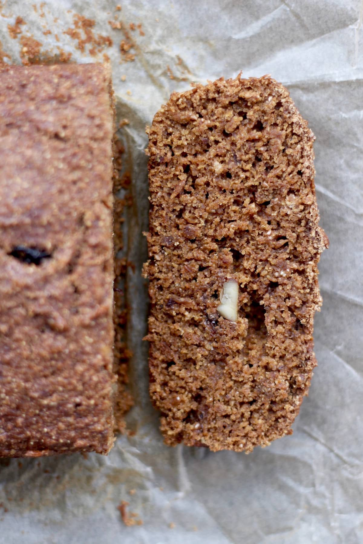 vegan gingerbread loaf studded with apple chunks