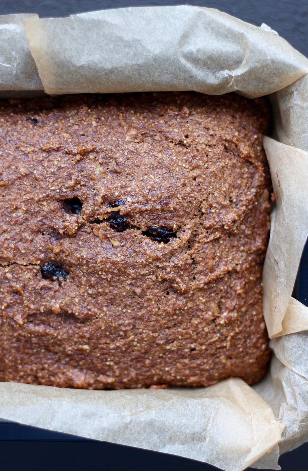 Vegan gingerbread loaf with dried cherries