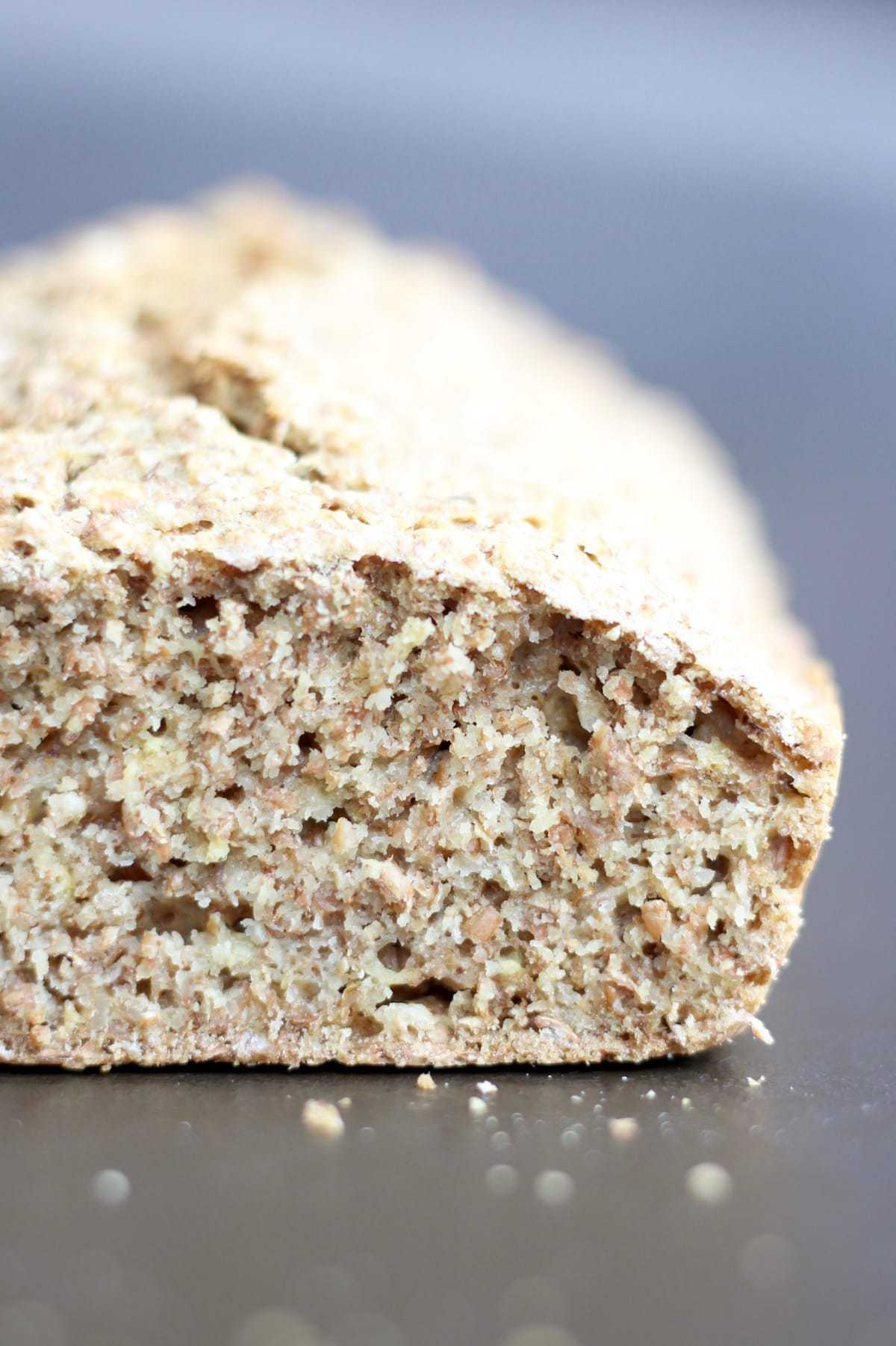 The doughy insides of dairy free traditional Irish brown bread