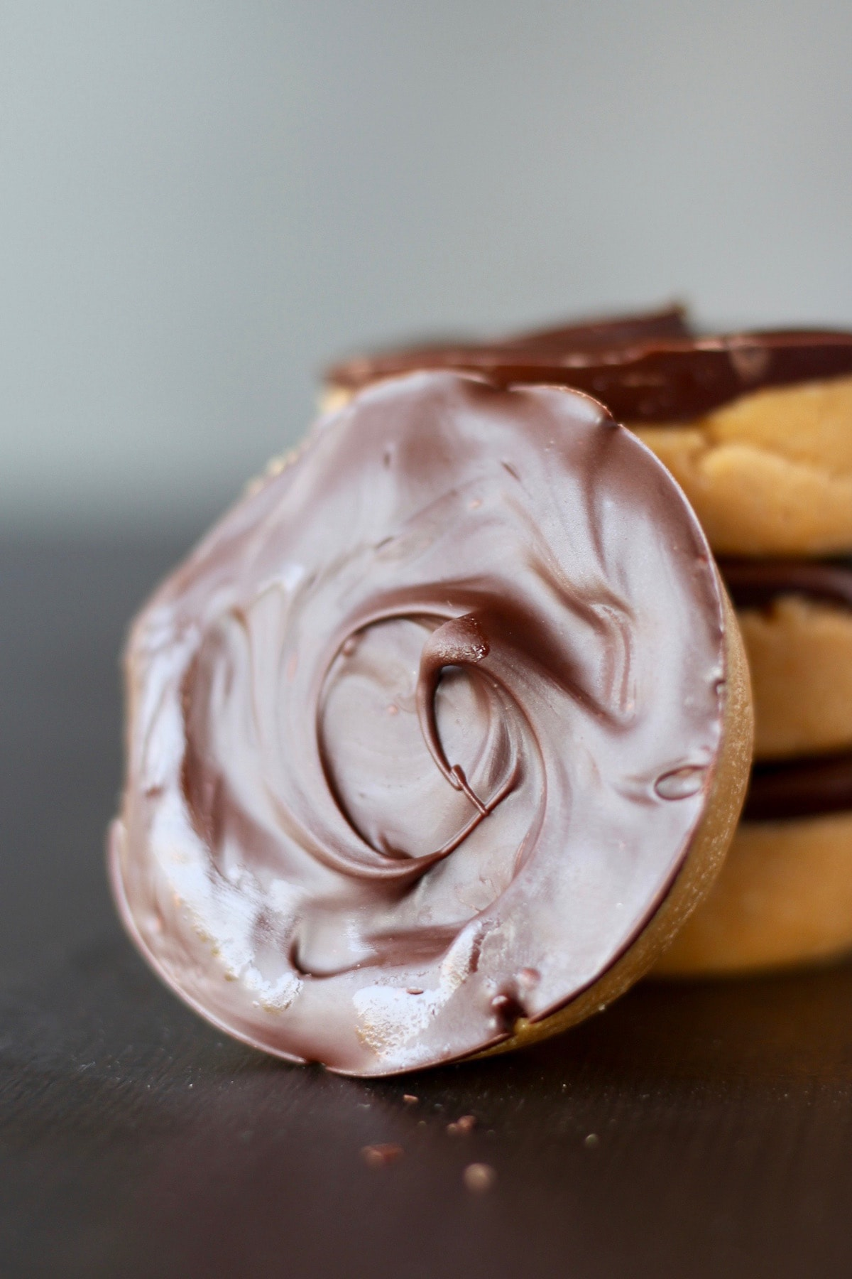 Swirled chocolate coating on a peanut butter cup