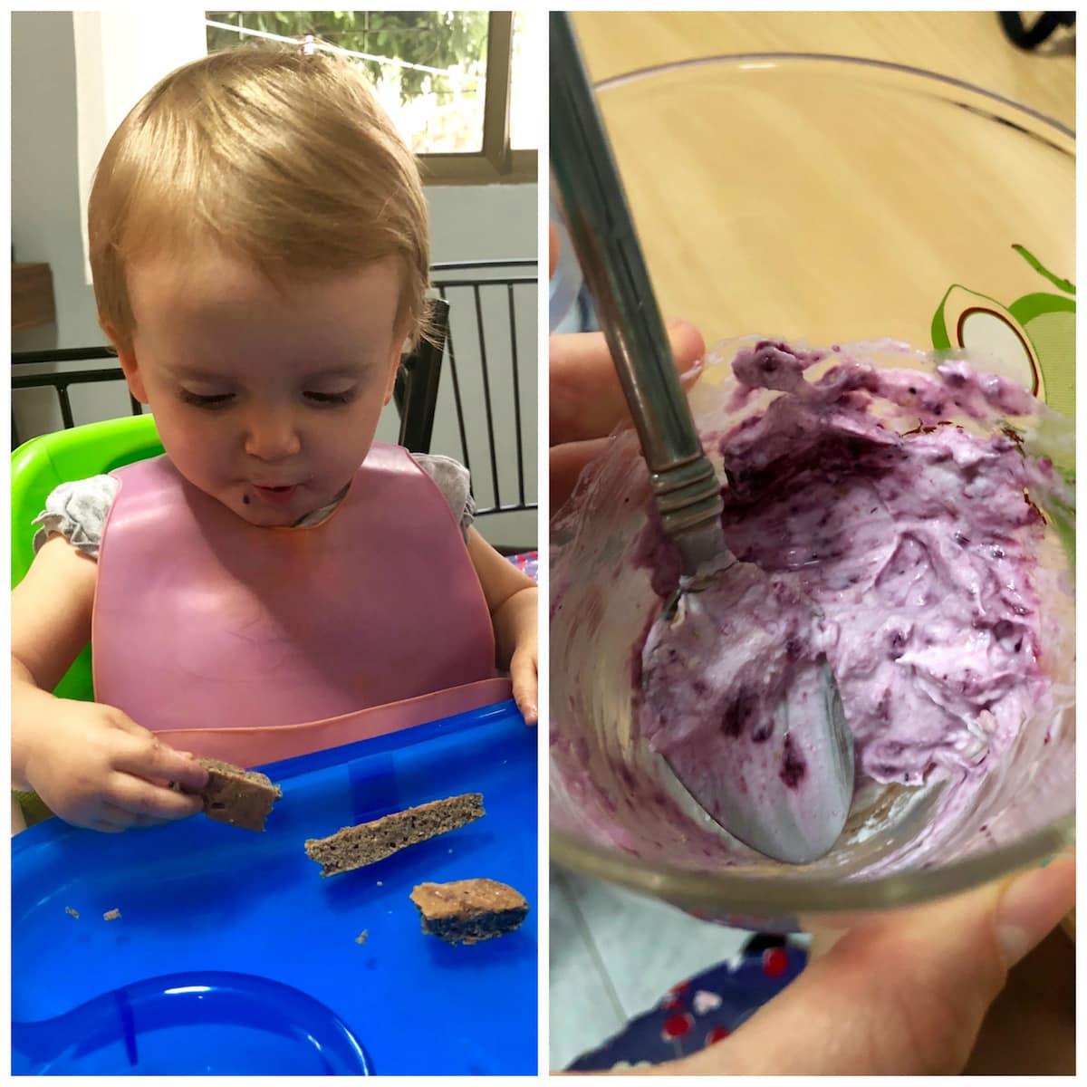 Vegan baby eating pancakes and yogurt