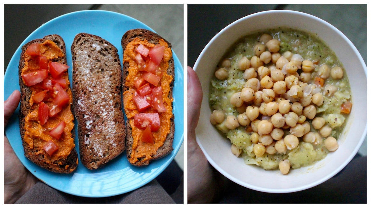Hummus toast and creamy broccoli, cauliflower soup with chickpeas