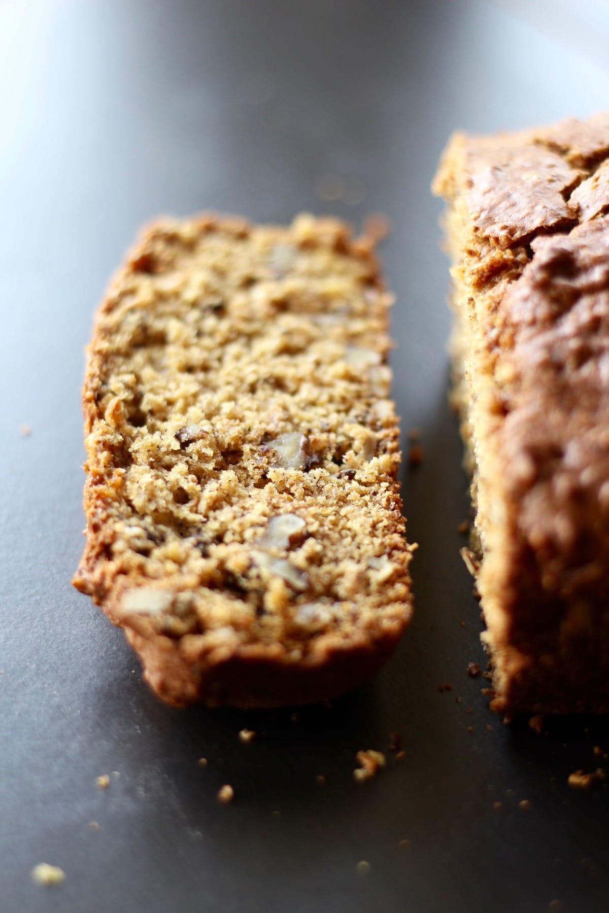crispy walnuts in a loaf of bread