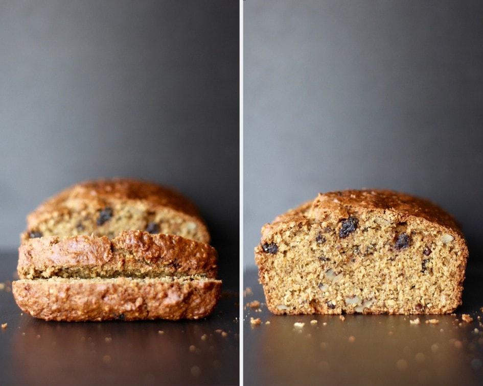 a loaf of walnut raisin bread sliced