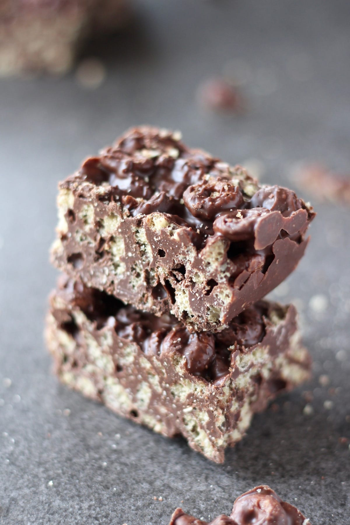 a stack of two homemade cereal crunch bars