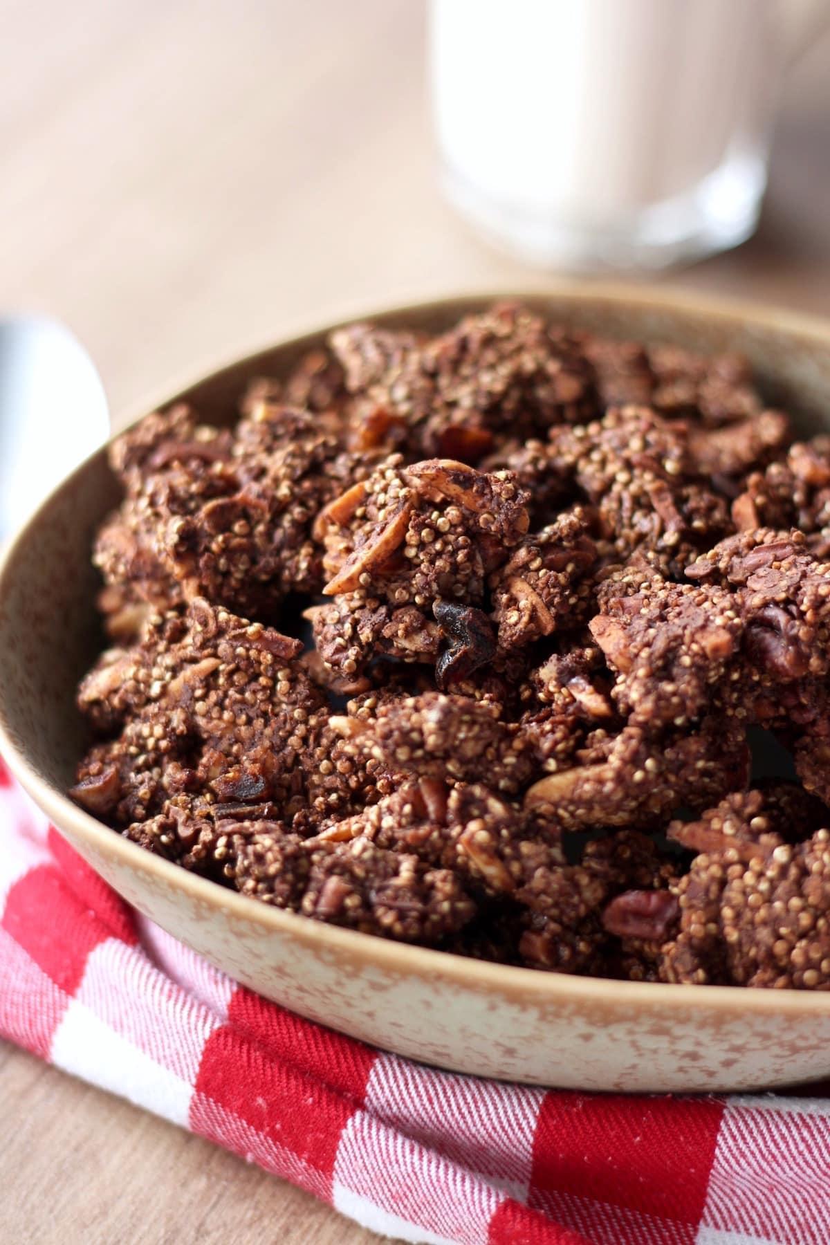 almonds and quinoa studded chocolate granola