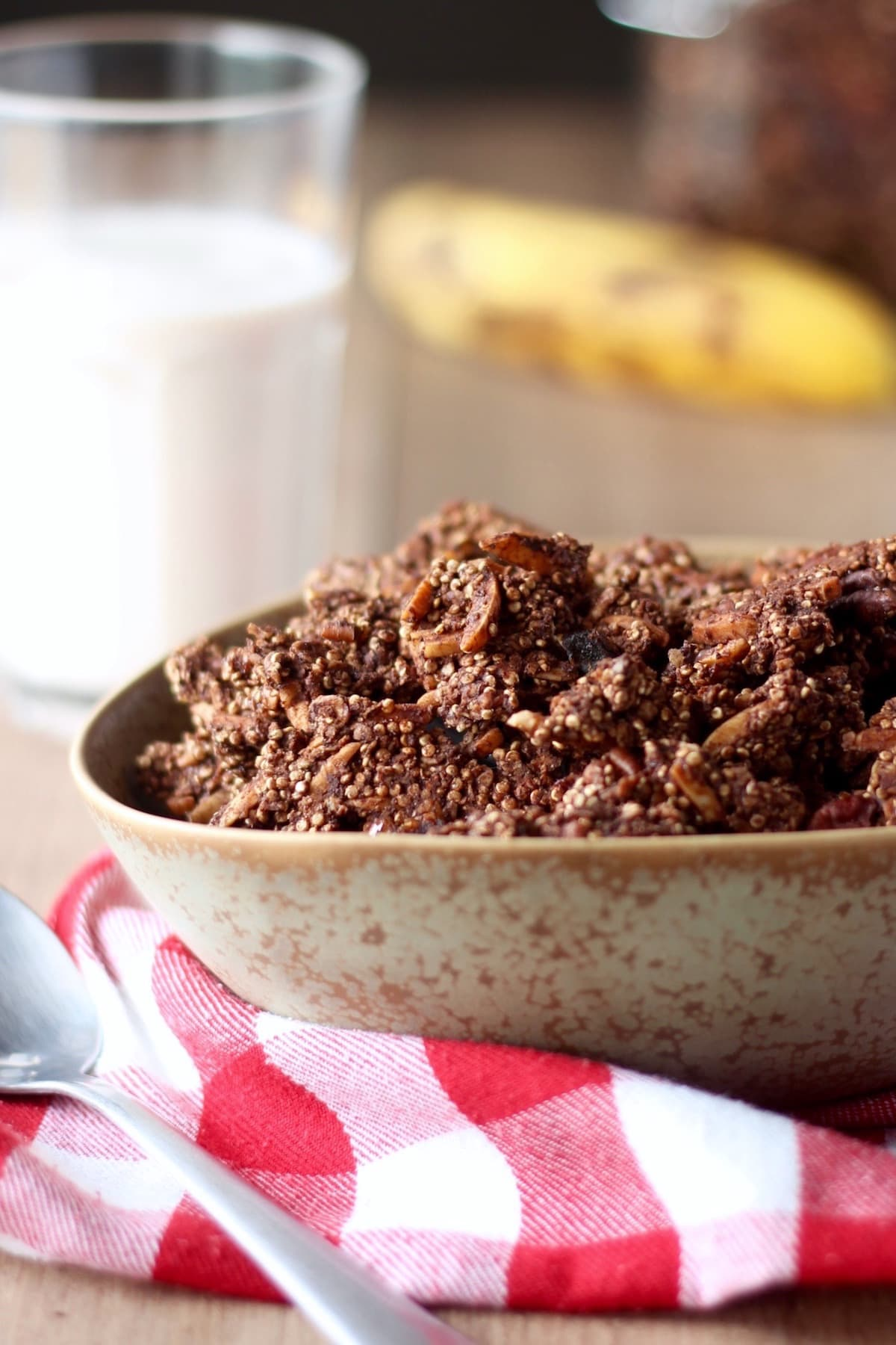 chocolate quinoa granola about to be doused in milk