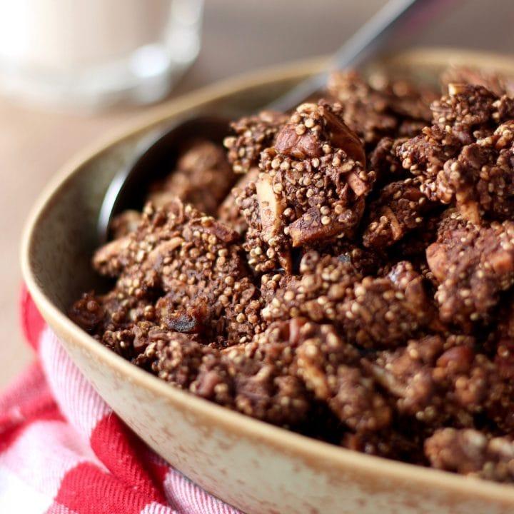 Chocolate Quinoa Cluster Granola (Gluten Free + Vegan)