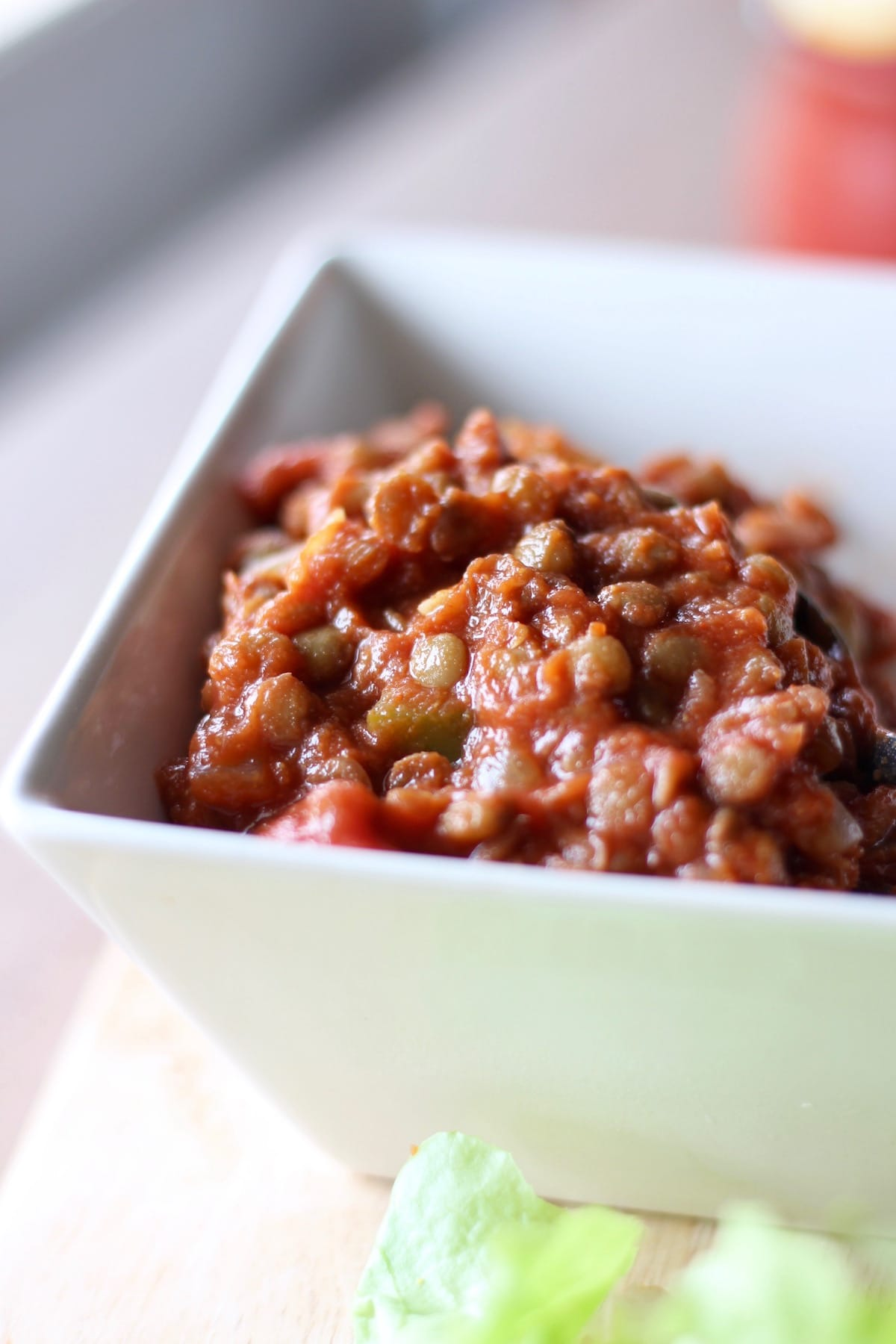 lentil sloppy joes in a bowl
