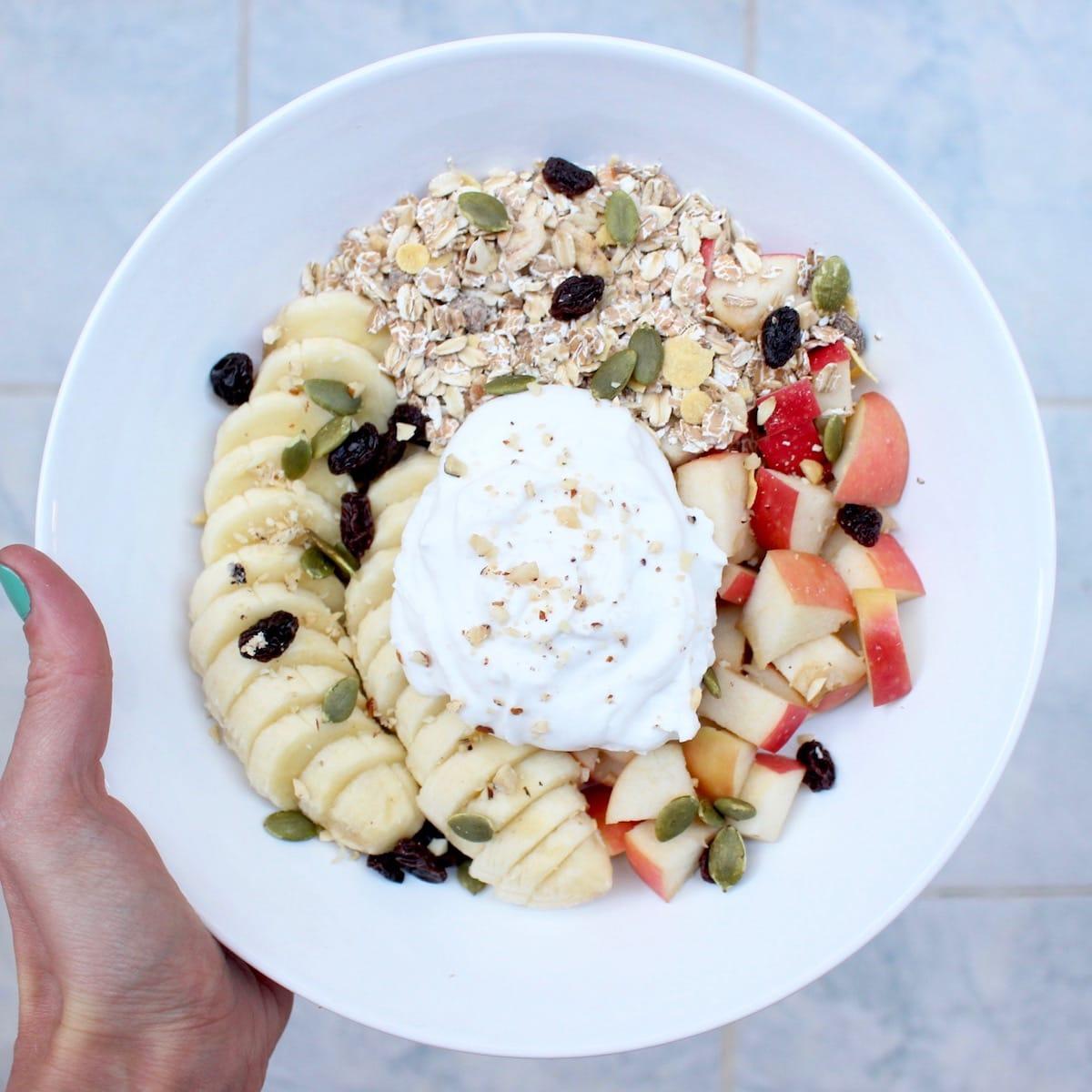 coconut yogurt and muesli bowl