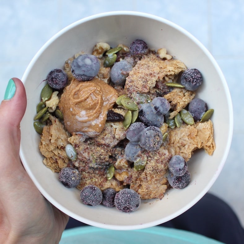 weet-bix with frozen blueberries and seeds