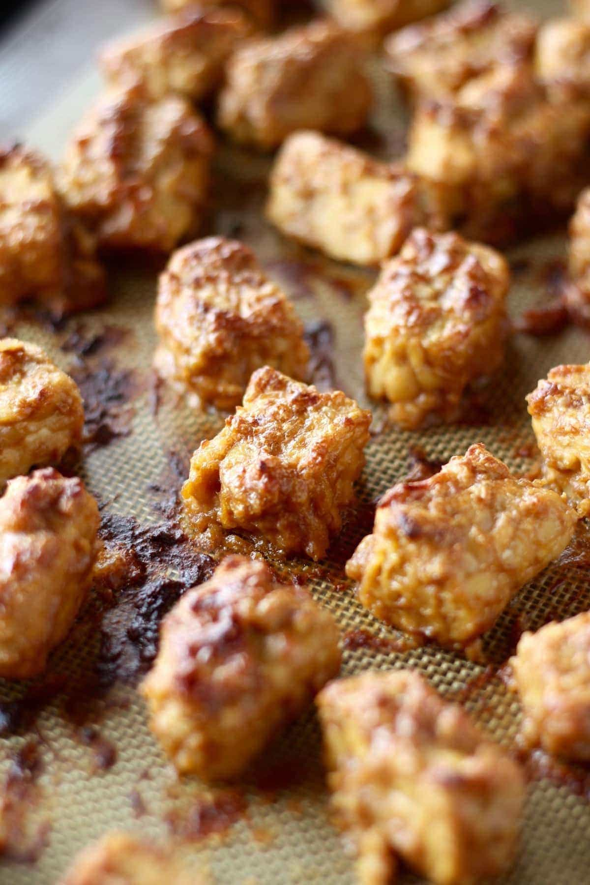 golden brown peanut coated baked tempeh