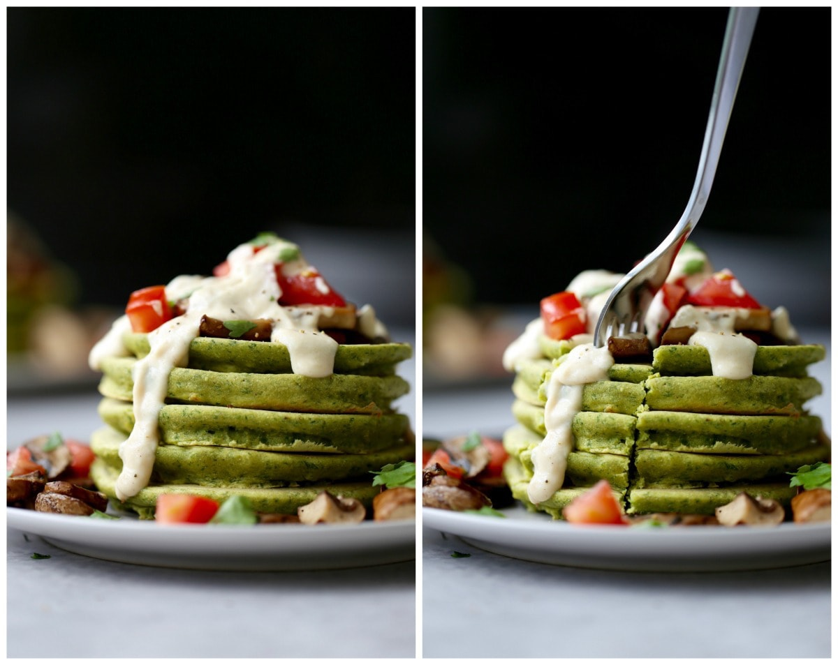 Cutting into a stack of chickpea flour pancakes