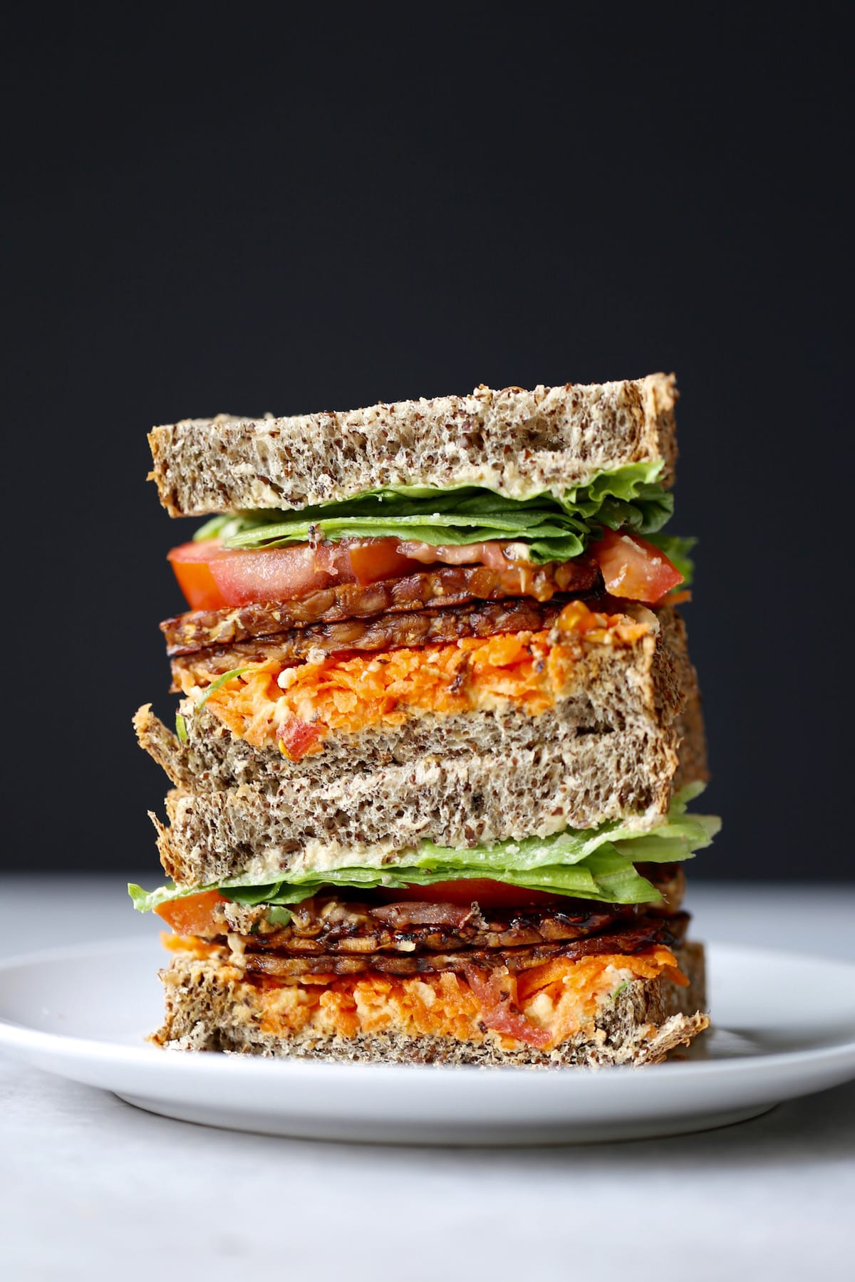 a colorful tempeh bacon sandwich