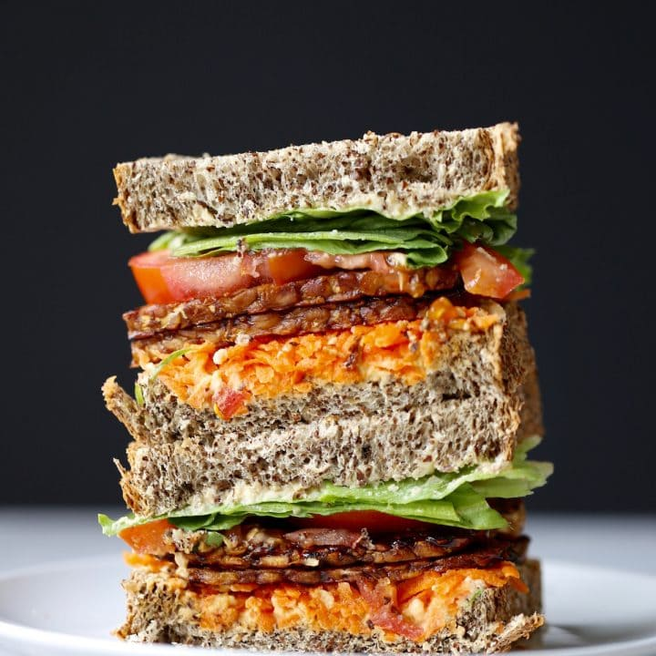 Vegan BLT Sandwich Recipe with Tempeh Bacon