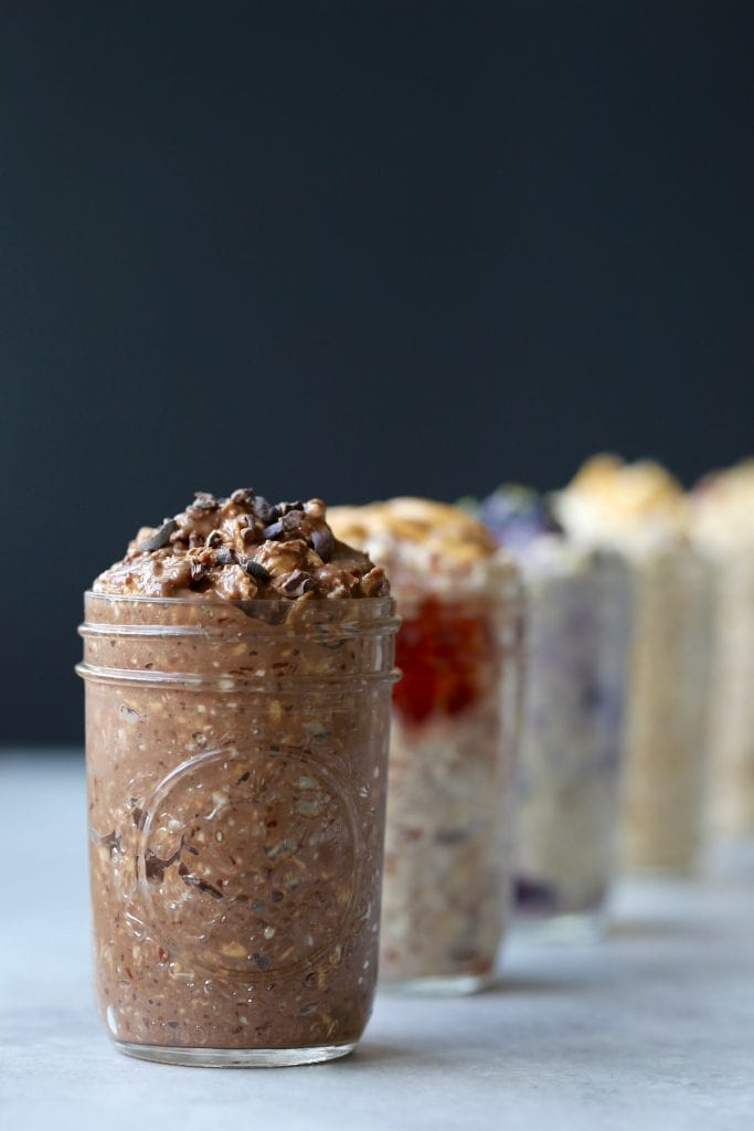 Chocolate overnight oats topped with cacao nibs