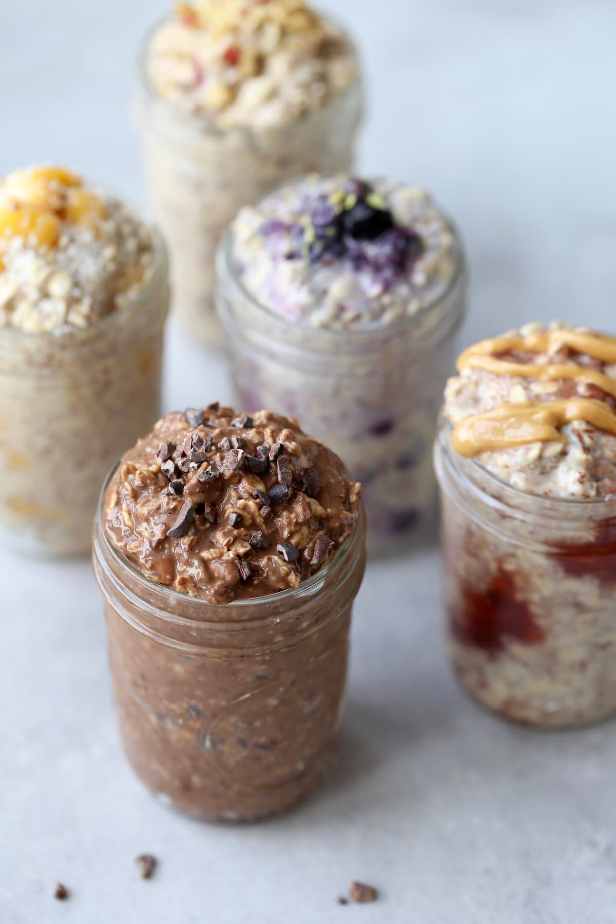 5 different flavors of overnight oats