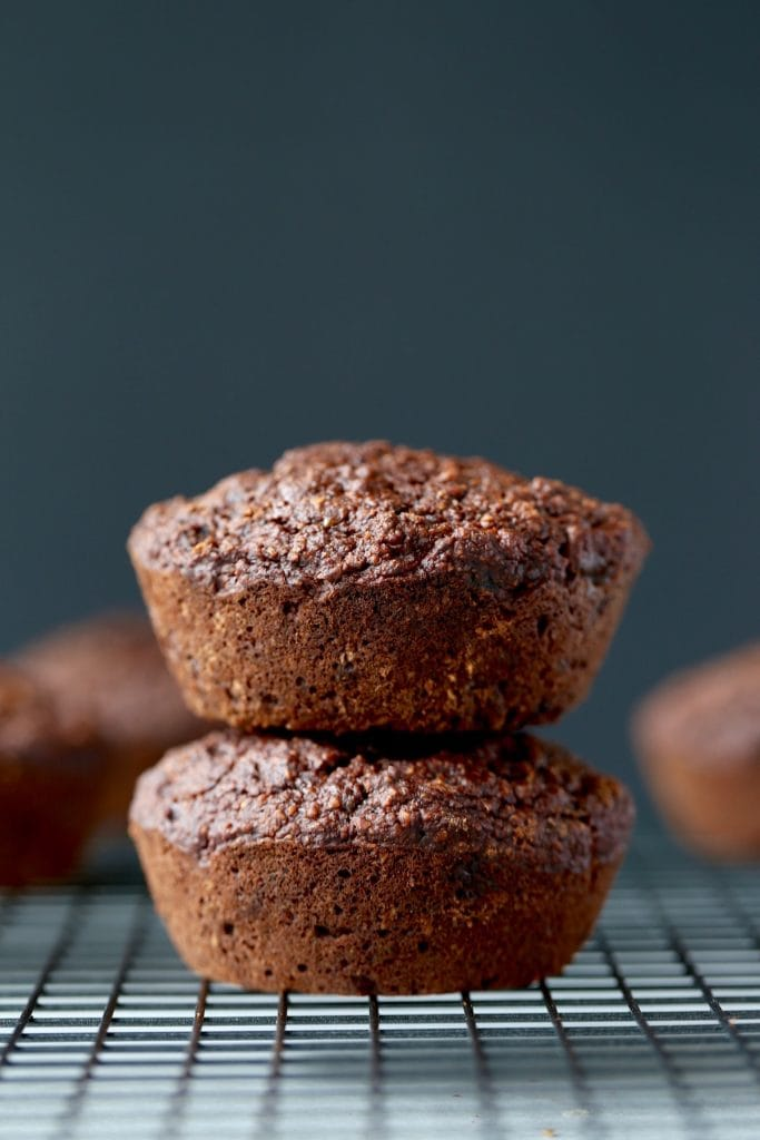 two jumbo vegan chocolate muffins stacked on each other